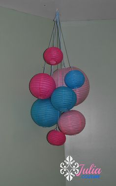 Hanging Paper Lantern Mobile for Nursery, Class, Wedding, Party Centerpiece. Pink, Turquoise, White. $41.00, via Etsy.