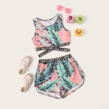 Girls Letter Cross Wrap Tape Tropical Top & Shorts Set - Source by sofiajori - Teenage Girl Outfits, Crop Top Outfits, Girls Fashion Clothes, Kids Outfits Girls, Sporty Outfits, Cute Outfits For Kids, Teen Fashion Outfits, Cute Summer Outfits, Cute Casual Outfits
