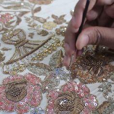 To order whatsapp us on Zardosi Embroidery, Hand Work Embroidery, Embroidery Suits, Embroidery Fashion, Hand Embroidery Designs, Ribbon Embroidery, Beaded Embroidery, Embroidery Stitches, Embroidery Patterns