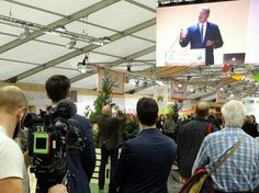"""Former U.S. Vice President and climate activist Al Gore speaks to global leaders during the COP21 climate conference in Paris. A video of his presentation was broadcast in the """"green zone"""" for non-diplomatic visitors. Photo by Brian Kaylor."""