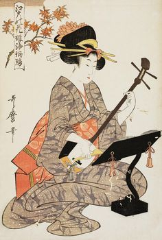 SHAMISEN   Utamaro (1753-1806) 歌麿 Maple Leaves 楓葉、1803from the series Flowers of Edo, Young Girls Reciting and Playing Shamisen 江戸の華・娘浄瑠璃