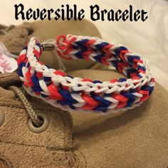 Reversible Bracelet Patriotic Hand crafted by my 13 yr old daughter. The back has a metal clasp and it can stretch a lot ! Not stretched it is 6 inches  No Trades Sale money goes to my daughter Pink Wasp Boutique  Jewelry Bracelets