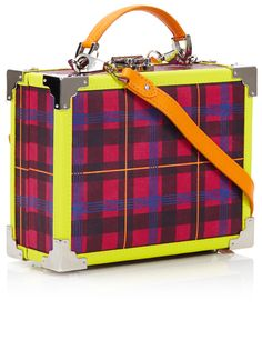 Aspinal of London mini trunk Plaid And Leather, Aspinal Of London, My Bags, Handbag Accessories, Regency, Trunks, Lunch Box, Fancy, Handbags