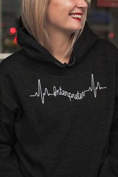 Interpreter Heartbeat - Lovely Gift For A Proud Interpreter - This design is also available for mugs #interpreter #translator #ASL #linguist #signlanguage #bilingual #BeeTeeInterpreter Interpreter Heartbeat