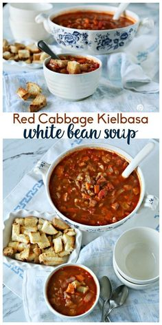 Red Cabbage Kielbasa White Bean Soup | Hearty Soup Recipes for easy dinner ideas. Simple vegetable soup with kielbasa sausage | Click for the recipe on TodaysCreativeLife.com AD #AuntNelliesSweetSourCabbage