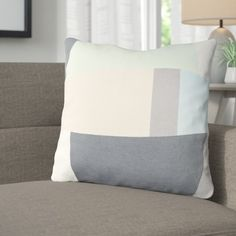 """Langley Street Harlow Cotton Throw Pillow Size: 18"""" H x 18"""" W x 4"""" D, Color: Mint / Charcoal / Beige / Sky Blue"""