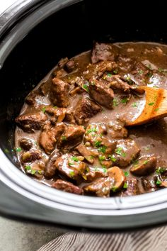 Hypoallergenic Pet Dog Food Items Diet Program Ridiculously Tender Beef Tips With Mushroom Gravy - Easy Beef Tips In Mushroom Gravy That You Can Make In The Instant Pot Or The Slow Cooker This Recipe Is Sure To Be A Hit With Your Entire Family Beef Tip Recipes, Crock Pot Recipes, Stew Meat Recipes, Cooking Recipes, Healthy Recipes, Crock Pot Beef Tips, Recipes With Beef Tips, Beef Tips Over Rice, Stewing Beef Recipes
