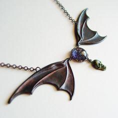 Large Bat Wing Necklace Victorian Halloween Jewelry Black Purple Jewel Macabre. via Etsy.