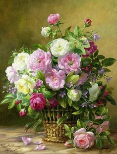 Rose; Roses; Still Life; Flower; Flowers; Arrangement; Pink; White; Basket; Leafs; Rose Petals On Floor; Pink Rose On Floor Print featuring the painting Roses by Albert Williams