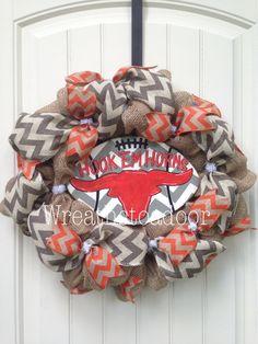 Longhorn burlap wreath www.facebook.com/wreathstoadoor