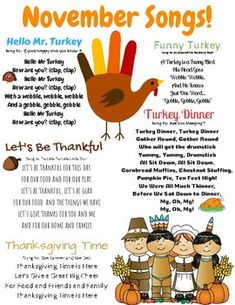 November Songs FREE November songs and finger plays! This resource can be used for circle time in a daycare, preschool, Pre-K, or Kindergarten classroom. This is also a great resource to send home with children to sing the seasonal songs with their famili Kindergarten Songs, Preschool Songs, Preschool Lessons, Kindergarten Classroom, Circle Crafts Preschool, Home Preschool, Circle Time Ideas For Preschool, Preschool Curriculum, Kids Songs