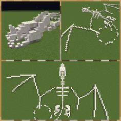 This dragon skeleton I made - Minecraft Art Minecraft, Minecraft Building Guide, Minecraft Statues, Minecraft Banner Designs, Minecraft Images, Minecraft Banners, Minecraft Medieval, Minecraft Castle, Minecraft Plans
