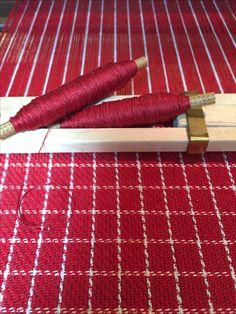 Barbara Pickel - hand towels on the loom. Cottolin warp and tow linen weft.