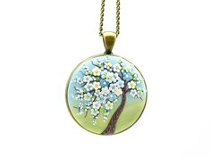 Collar árbol de la vida colgante collar Sakura flor de cerezo