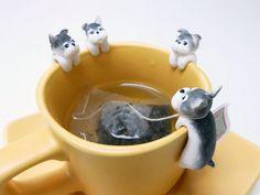 Schnauzer Tea Bag Holder - Clinging Dog Tea bag Holders - Dog Lovers Gifts - Funny Cup Decor - Mug Decor - Bowl Decor - Tea Lovers Gifts