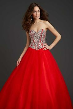 Buy 2014 Quinceanera Dresses New Red A Line Sweetheart Floor Length Tulle Under 200 On line