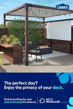 Outdoor living is all about enjoying the perfect day. Let us do the installation and we'll help make the day even better. Backyard Patio Designs, Backyard Projects, Backyard Landscaping, Hot Tub Gazebo, Hot Tub Backyard, Deck Fire Pit, Pergola, Design Jardin, Decks And Porches