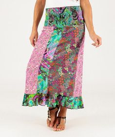 Another great find on #zulily! Purple & Green Patchwork Maxi Skirt #zulilyfinds