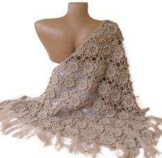 $75 shawl ,women hand crocheted shawl ,beige shawl, Wrap ,Stole ,Shrug ,womens fashion , 3D Flowers