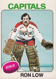 """""""When you're talking about the most intimidating masks of the hang on being told that's just Ron Low's face. Hockey Cards, Football Cards, Baseball Cards, Hockey Goalie, Ice Hockey, Nhl, Goalie Mask, Washington Capitals, Sports Pictures"""