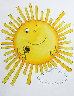Sun Painting, Fabric Painting, Pop Up Flower Cards, Good Day Sunshine, Sun Art, Smileys, Sun Moon, Good Morning Quotes, Cute Illustration