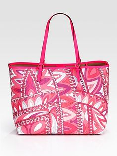 "Emilio Pucci Beach Bag -- [Designer Emilio Pucci]~[Poolside or beach side, this vibrant design with calfskin trim will certainly turn heads.  Plastic double handles. Internal bag with chain 16""W X 11""H]~[Made in Italy]'h4d'"