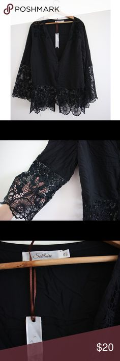 Black Boho Lace Blouse Black lace detailed button up blouse. Flowy, Boho vibes, I am absolutely in love with the style of the shirt however I thought I was buying a large and I didn't realize it was a 1X. New with tags, never worn Solitare Tops Blouses