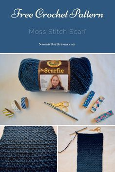 Free Crochet Pattern: Lion Brand Scarfie Yarn Moss Stitch Scarf