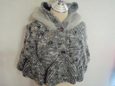 Knitting Hood Black and Gray Capelet Shawl Shrug by NRWhandmade, $95.00