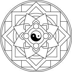Mandala Taijitu Mandala para colorear basado en el símbolo emblemático del taoísmo. - Mandalasparatodos.com.ar