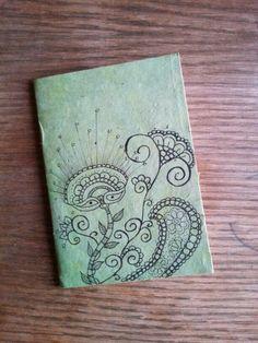 Diy notebook in rice paper. Zentangle design