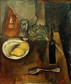 Chaim Soutine  – Nature morte à l'artichaut (Still life with artichoke), 1916, Oil on canvas, 63x54cm |  Legat Gustav Zumsteg, Zurich, Kunsthaus.