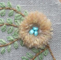 Charming bird's nest from The Floss Box. Great for a crazy quilt.
