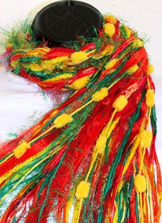 Knotted Fringe scarf Nasturtiums shades of by Southernbornnblessed, $24.95