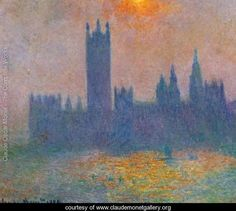 Houses Of Parliament Effect Of Sunlight In The Fog - Claude Oscar Monet
