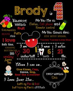 First BIRTHDAY Mickey Mouse CHALKBOARD Poster  by BGStudios, $12.00
