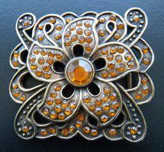 Orange Rhinestones Stones Square Flower Floral Belt Buckle Buckles