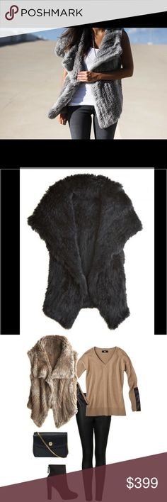 NWOT Calypso St. Barth Rabbit Fur Yali in BLACK NWOT- A dwindling summer calls for Autumn's most lavish accessory, the chic fur vest.  Constructed of beautifully soft rabbit fur, the relaxed silhouette ensures it will compliment endless ensembles.  Wide flap collar folds open to depict a leisurely vibe.  Single hook loops into stitching foundation at mid-collar center.  Side pockets add functional charm.  ****COLOR IS BLACK****only shown in different color to show how it's worn and can be…