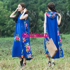 Womens Hooded Print Linen Coat Blueflower Long Dress Ethnic Style Maxi Dress