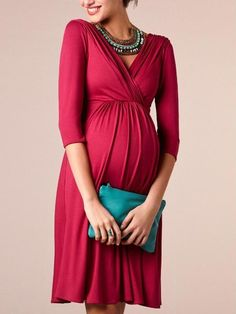 550d658446 New Burgundy Pleated Deep V-neck 3 4 Sleeve Maternity Pregnant Banquet Prom  Party Midi Dress