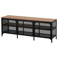 IKEA FJÄLLBO, TV unit, black, This rustic metal and solid wood TV bench has an open back, so it's easy to arrange cords and cables. You can place electronic equipment behind the metal mesh doors since they allow signals to get through from your remote co Fjällbo Ikea, Cama Malm Ikea, Ikea Shoe, Tv Storage, Storage Places, Smart Storage, Solid Wood Shelves, Rustic Shelves, Media Furniture