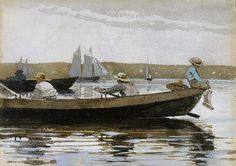 Winslow Homer, Boys in a Dory, 1873  (American, 1836–1910)  Watercolor washes and gouache over graphite underdrawing on medium rough textured white wove paper