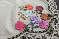 4 Colorful Rosy Floral Embroidery Appliques Cotton by lacecrafted, $5.50