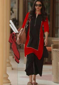 Deepika Padukone Cotton Red & Black Plain Semi Stitched Bollywood Designer Suit - at Rs 903 Designer Suits Online, Designer Salwar Suits, Salwar Designs, Blouse Designs, Neckline Designs, Pakistani Fashion Casual, Indian Fashion, Red Salwar Suit, Salwar Kameez