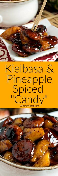 This sticky-sweet Kielbasa and Pineapple Spiced Candy is so good its sure to become a favorite at your next barbecue! Sausage Recipes, Pork Recipes, Crockpot Recipes, Cooking Recipes, Dump Recipes, Meat Appetizers, Appetizer Recipes, Dinner Recipes, Appetizers