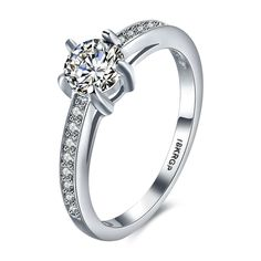 New Design Simple Style 18 K White Gold Round Bling Solid Zircon Ring For Bride Women Wedding Engagement Femme Bague Jewelry