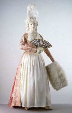 Now this dress you can see the Empire style coming in, it is a white cotton with a lovely pink brocade,this dress is from around 1790-95