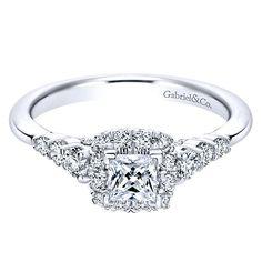 14K White Gold .80cttw Petite Princess Cut Halo Diamond Engagement Ring