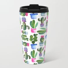 Watercolor Cactus Pattern - Talk about steely good looks. In addition to a 360-degree wraparound design, our metal travel mugs are crafted with lightweight stainless steel - so they're pretty much indestructible. Plus, they're double-walled to keep drinks hot (or cold), fit in almost any size cup holder and are easy to clean.