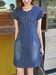 Read more The post Split Neck Denim Pocket Light Wash Bodycon Dress appeared first on How To Be Trendy. Dress Outfits, Casual Dresses, Fashion Dresses, Short Sleeve Dresses, Modest Outfits, Modest Fashion, Summer Outfits, Denim Bodycon Dress, Jeans Dress